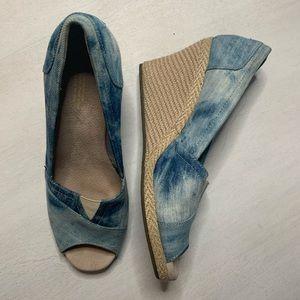 Toms espadrille wedge heel peep toe shoe